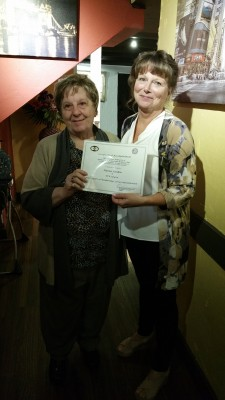 Langley President Deanna Evertt honours Charter Member, Hanna Konkin for 60+ years of service in BPW Canada.