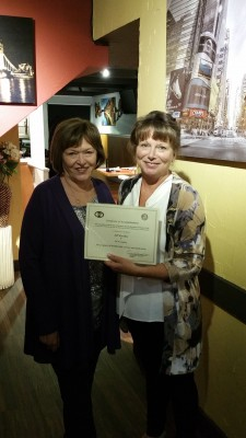 Langley President Deanna Evertt honours Charter Member, Jill Worobec for 30 years of service to BPW Canada.